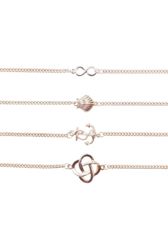 LUCCACAL gold 4 x Sail Me To The Sea Bracelet LU294AC0SZNVMY_1