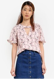 Something Borrowed pink Raglan Sleeve V-Neck Top 61B66AA59A8B3EGS_1