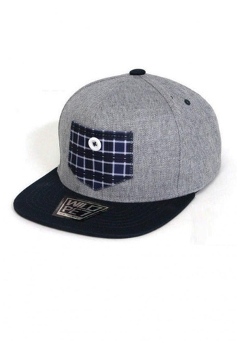 M-Wanted grey M. Snapback Cap with Contrast Checked Pocket MW173AC03GUQSG_1