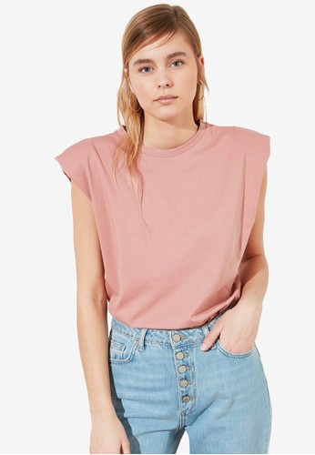 Trendyol pink Padded Shoulder Knit T-Shirt B5754AA141137CGS_1