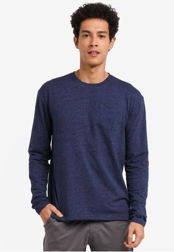 Penshoppe 海軍藍色 素色口袋長袖針織上衣 7BBDBAAF0DFCBDGS_1