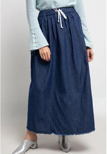 ZAHRA SIGNATURE blue Long Skirt Denim Pocket Patch Meira A4720AADEC8F5CGS_1