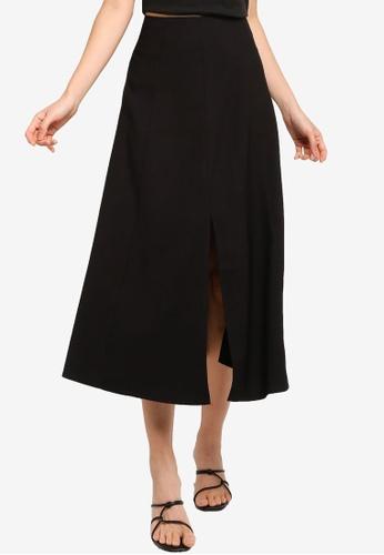 ZALORA BASICS black High Waist Midi Skirt With Central Slit 0C285AA4758061GS_1