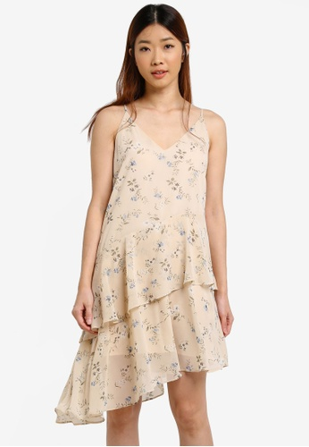 Something Borrowed beige Layered Asymmetric Cami Dress 293C7AA2EB60B2GS_1