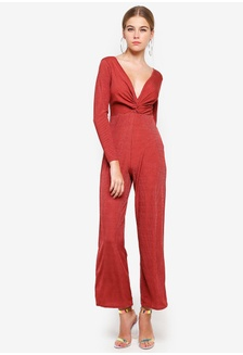 556ae07ad50 Petite Rust Long Sleeve Rib Twist Jump Suit 41AAAAA9E1369AGS 1 Miss  Selfridge ...