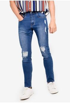 fd27806da932f ZALORA BASICS blue Basic Skinny Ripped Jeans A2750AA8534A0CGS_1