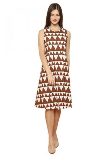Gina Alana beige and brown Gina Alana Brown Mika Indie Dress 0D014AAC19F1CCGS_1