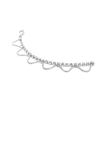 Glamorousky silver Elegant Wave shape Anklet with Silver Austrian Element Crystals 89DA6ACEB1794DGS_1