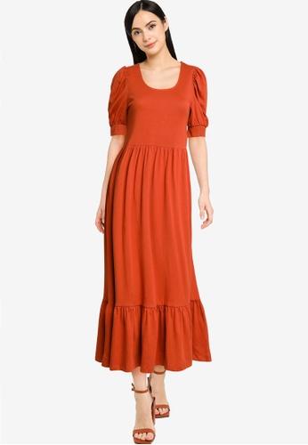 ONLY brown Short Sleeve Puff Dress 19922AAD77D15DGS_1