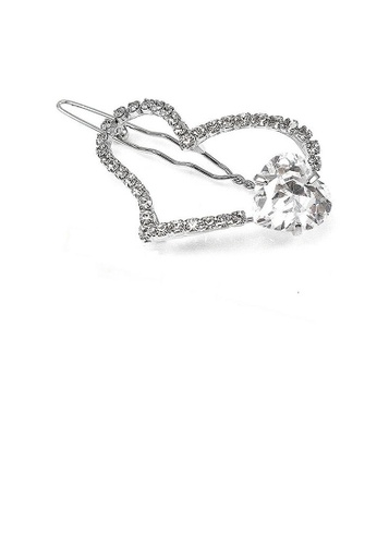 Glamorousky silver Elegant Heart Barrette with Silver Austrian Element Crystal 1729EAC2939774GS_1