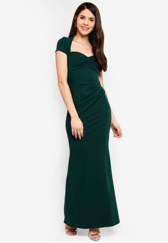 Goddiva 綠色 Sweetheart Neck 長洋裝 A1ACBAA02F7760GS_1
