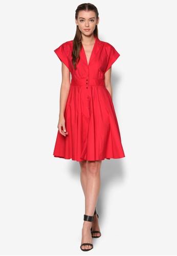 排鈕翻領短袖連身裙, 服esprit品牌介绍飾, 洋裝