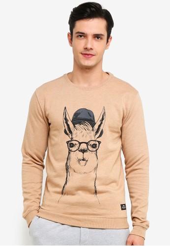 !Solid brown Rhodes Printed Sweatshirt 02B1DAA26EEA12GS_1