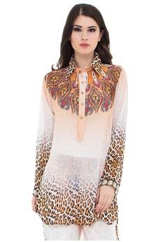 Devain Kapoor orange and multi Journey to Sahara Animal Print Long Sleeve  Shirt with Swarovski Crystals 3ae718fa06