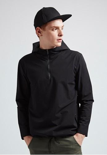韓系簡約。輕薄細絨。連帽上衣-07345-黑, 服飾, 長esprit 台北袖T恤