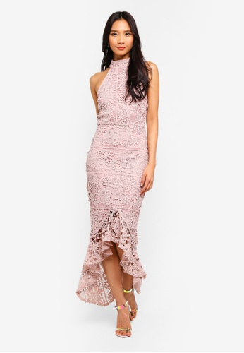 ecb79b282a52e Lace High Neck Fishtail Midi Dress