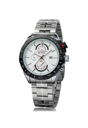 curren white and silver Curren 8148 Men's Military Stainless Steel Watch (Silver White) CU537AC96SZZMY_1
