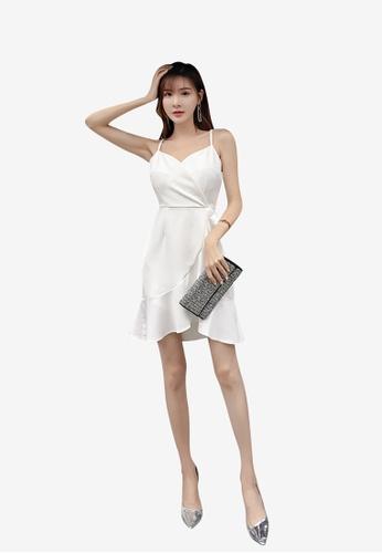 hk-ehunter white Camisole Solid Coloured Flounce Dress 768B5AA3F73DF6GS_1