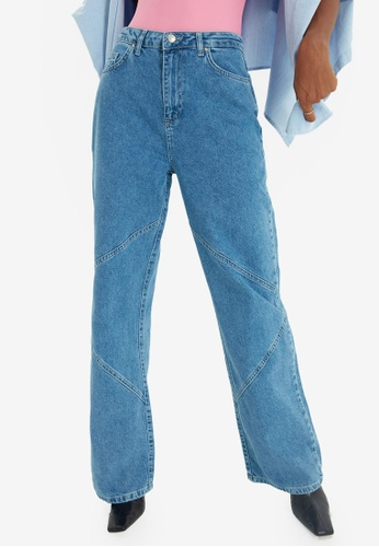 Trendyol blue High Waist Wide Leg Jeans 714EDAA8E7A58DGS_1