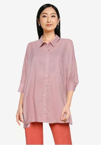Heather pink Plain Oversized Shirt 5FFDAAAEE0F65BGS_1