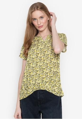 Wrangler green Floral Shirt with Pleated Hem Line A5DAFAA5830B1AGS_1