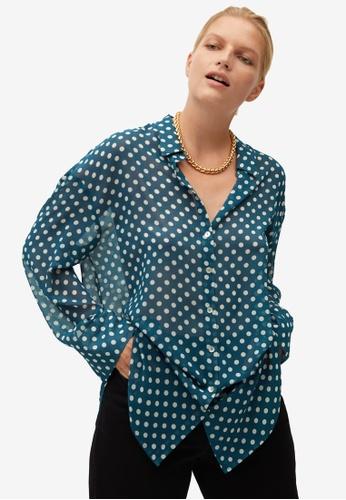 Violeta by MANGO blue Plus Size Printed Flowy Shirt A2FA3AAF7B93A4GS_1