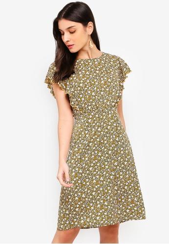 ZALORA yellow and multi Ruffles Dress B0CA8AA4B486E8GS_1