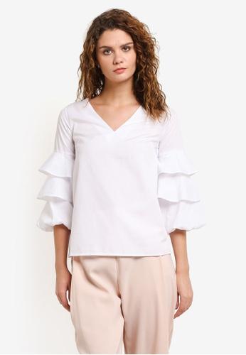 Dorothy Perkins white Ivory V-Neck Puff Sleeve Top DO816AA0RMYDMY_1