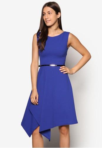 esprit門市不對稱裙擺腰帶洋裝, 服飾, 燦色奪目