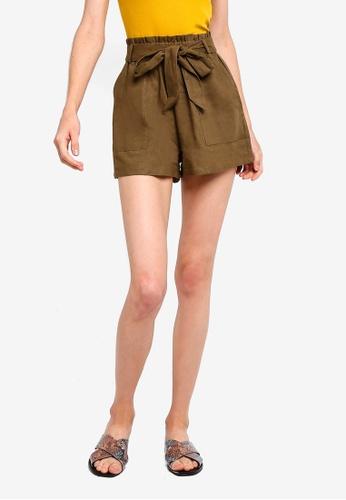 Cotton On brown High Waist Shorts E1A46AA08F7C75GS_1