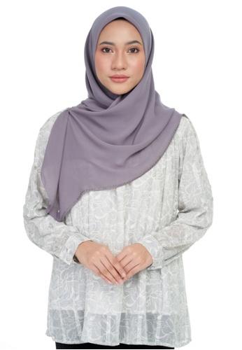 KASHKHA grey Chiffon lace embroidery square scarf-DK.GREY 5B3DBAA11E2526GS_1