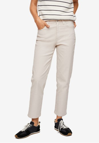 Mango beige Cropped High Waisted Straight Jeans E7F56AA0ADB4F9GS_1