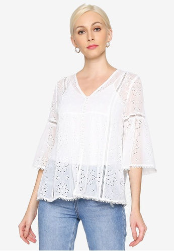 Hopeshow white Sheer Flare Cuff Lace Blouse with Camisole 417A8AA8CB2302GS_1