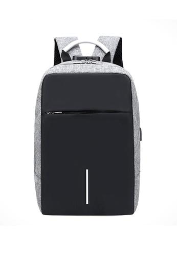 A FRENZ grey Anti Theft Travel Waterproof USB Port Laptop Backpack 4E60AAC2038A82GS_1