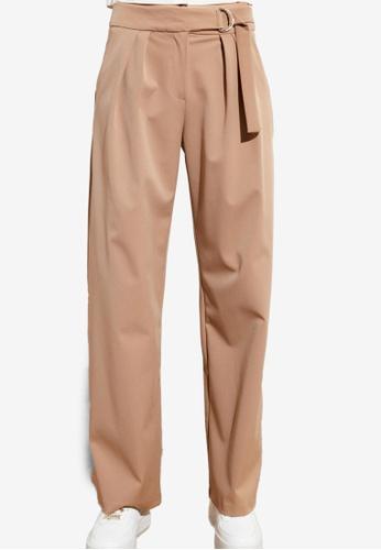 Trendyol brown Belted Mid Waist Trousers 71B78AAD626B49GS_1