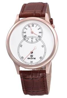 Skone Men's Leather Strap Watch 9295