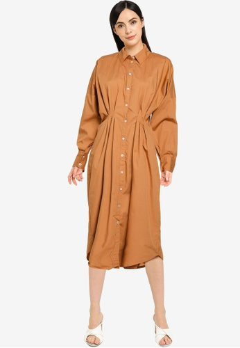 Vero Moda brown VMCHARLOTTE LS CALF SHIRT DRESS WVN GA 03E36AAC609E33GS_1