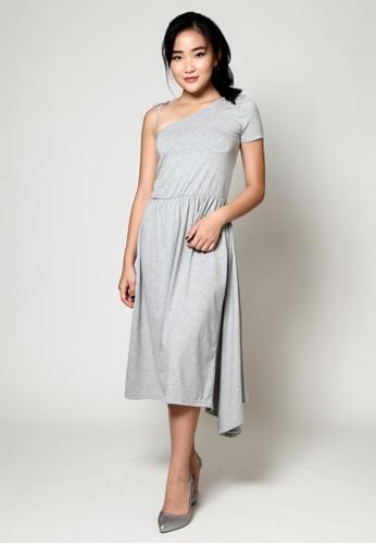 Beyounique grey Asymmetry midi dress knit BE311AA0V9N9ID_1