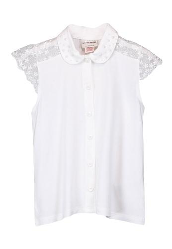 LC Waikiki white Girl's Lace Detailed Shirt 5D2BBKAE076588GS_1