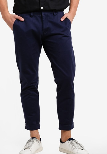SPARROW GREEN blue and navy Brad Tapered Chinos Pants SP065AA01LKGMY_1