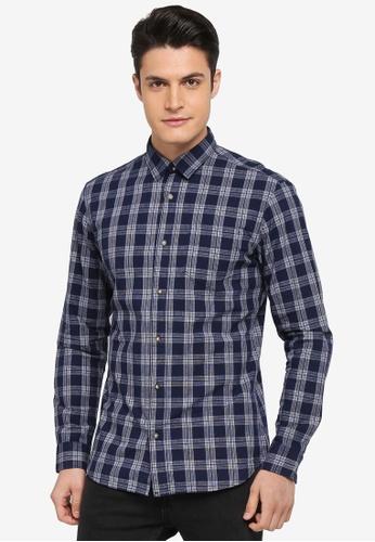 Selected Homme 藍色 長袖格紋襯衫 00421AAB7C37AEGS_1