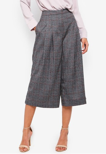 OVS black Stretch Gaucho Trousers With Tartan Pattern 5D343AA5C2AAC4GS_1