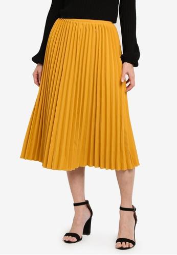 Something Borrowed yellow Pleated Midi Skirt 576B0AA2C85B7DGS_1