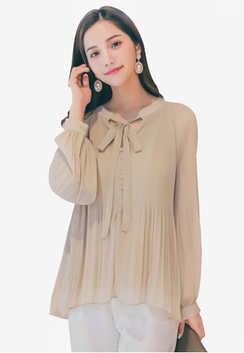 Yoco beige Ribbon Detailed Long Sleeve Blouse DB98AAACF596E7GS_1