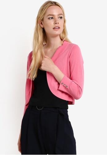 Wallis pink Blush Crepe Curve Hem Shrug WA800AA50RRTMY_1