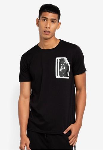 Brave Soul black Reflective Trim Camo Print Patch T-Shirt F5D50AA2812940GS_1