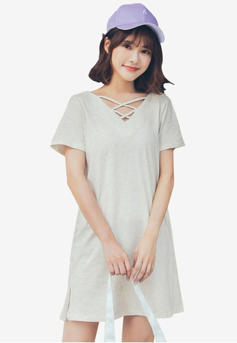 Tokichoi grey T-Shirt Dress With Crossover Detail E34CDAAB9D1BBCGS_1