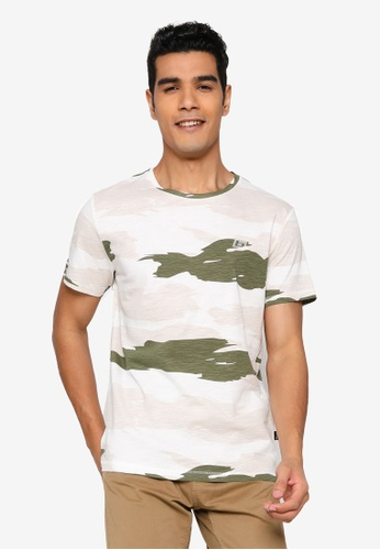 BLEND white and multi Camo Crew Neck T-Shirt 8915AAA0CC333EGS_1