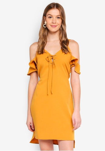 Angeleye yellow Cold Shoulder Mustard Lace Up Dress 210C3AA8D112C7GS_1