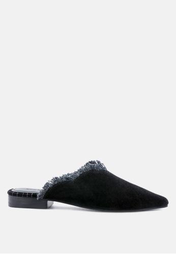 RAG & CO black Frayed Leather Mules 8F518SHC71E816GS_1